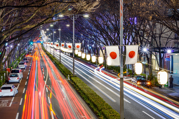Night traffic in Japan