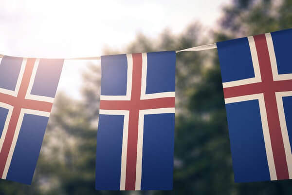 Icelandic flag – red and white cross on blue background