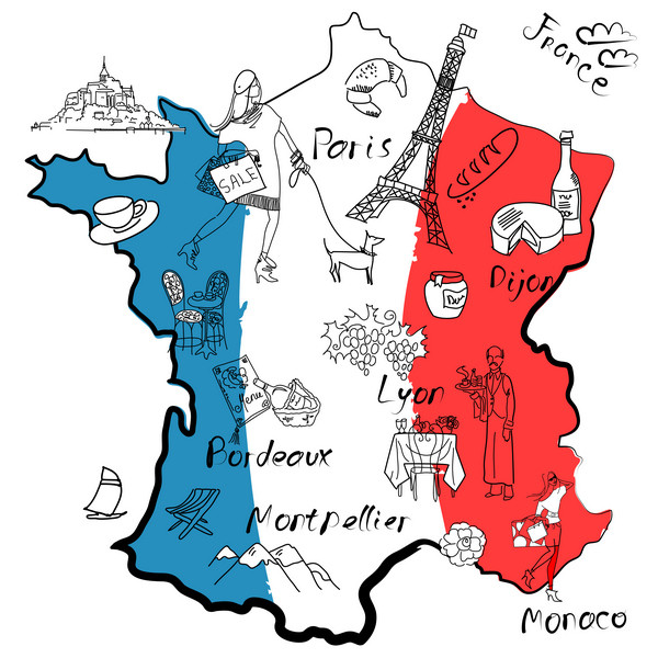 Map of France in national colours
