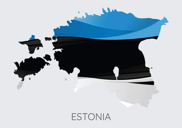 Map and flag of Estonia