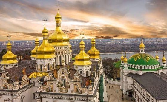 Kiev, Ukraine. Cupolas of Pechersk Lavra Monastery. Panoramic city view