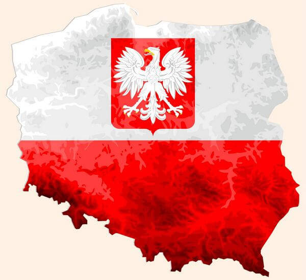 Map with coat of arms of Poland