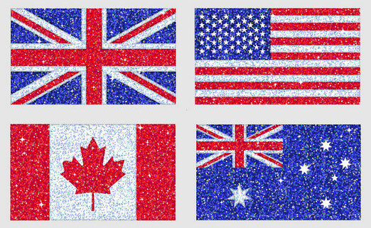 Flags of United Kingdom, United States of America, Canada and Australia