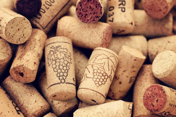 Cork from wine bottles