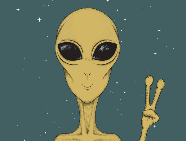 Illustration of an alien showing a peace sign