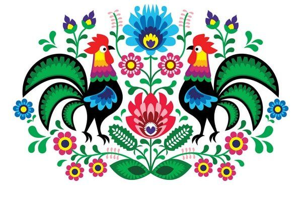 Rooster with flowers – traditional Polish folk pattern