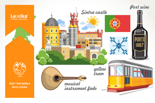 Sintra palace, yellow tram, Porto and portugese flag