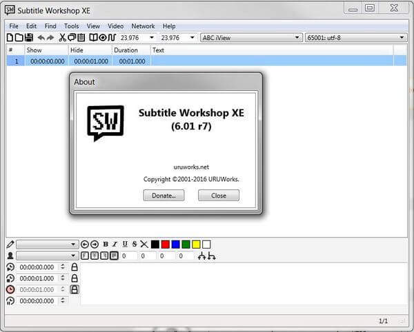 Subtitle workshop interface screenshot