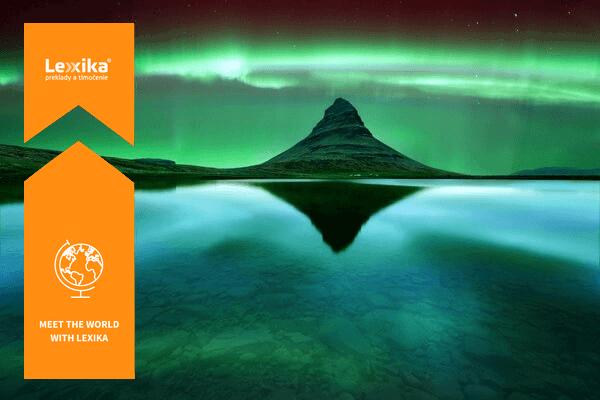 aurora borealis above a volcano