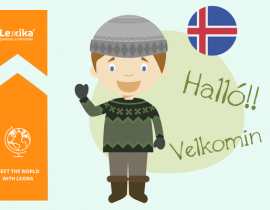 Man saying Welcome in icelandic