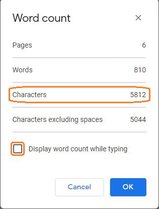 Google docs character count