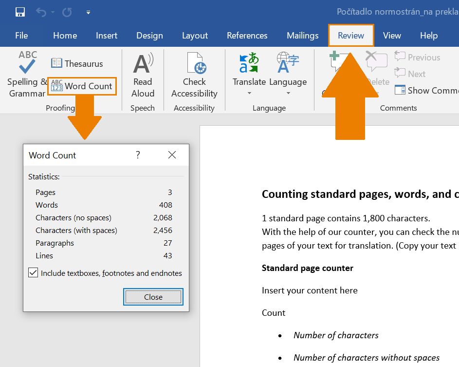 MS Word wordcount