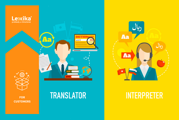 illustration of a translator and an interpreter during work