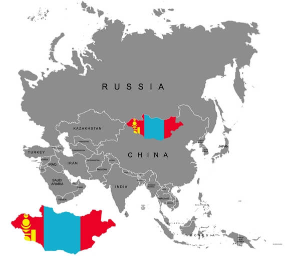 the map of Mongolia
