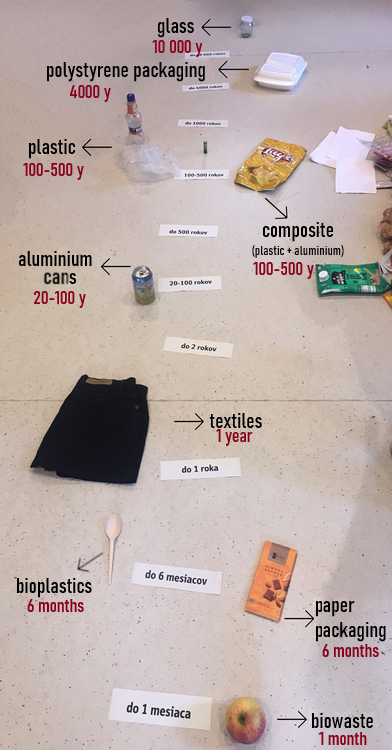 decomposition of different materials - timeline