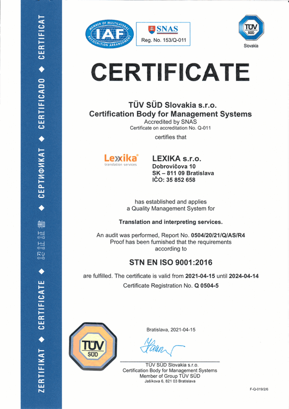ISO 9001 certificate Lexika